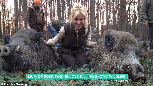 The US mother-of-four has travelled the world in search of prey and said she has killed around 100 different species - but didn't reveal the exact amount of animals she had slaughtered in her pursuit